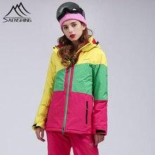 SAENSHING, зимний лыжный костюм для женщин, куртка для горного катания на лыжах, штаны для сноуборда, водонепроницаемая, 10 K, дышащая, зимняя куртка, теплый комплект для улицы