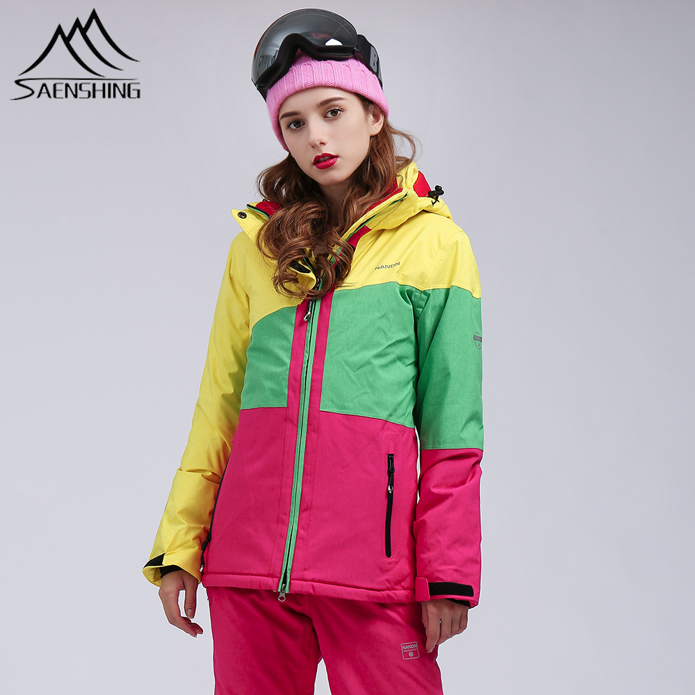 SAENSHING Winter Ski Suit Women Mountain Skiing Jacket Snowboard Pants Waterproof 10K Breathable Snow Coat Outdoor Warm Set