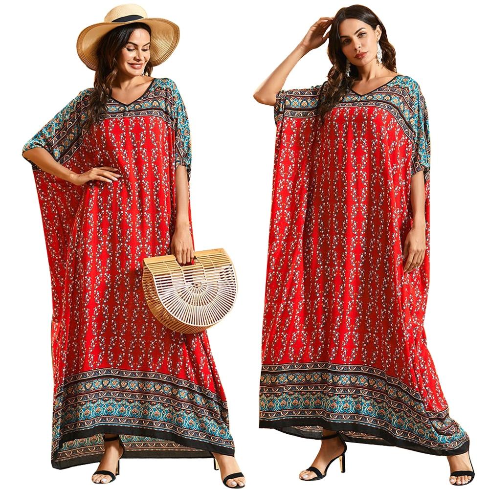 Dubai Maxi Kaftan Women Fashion Muslim Dress Print Bohemian Beach Summer Caftan Robe Oversize Arab Gown Abayas Islamic Clothing