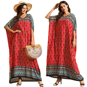 Dubai Maxi Kaftan Women Fashion Muslim Dress Print Bohemian Beach Summer Caftan Robe Oversize Arab Gown Abayas Islamic Clothing