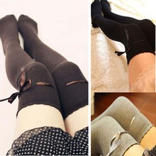 New Women Over Knee Stockings High Thigh Bow Decoration Cotton Cute Stocking Long Knittd Fashion Winter Kawaii Stockings