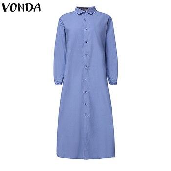 Plus Size Shirt Dress Women's Autumn Sundress 2019 VONDA Vintage Casual Long Maxi Dress Tunic Vestidos V Neck Solid Robe Femme 4