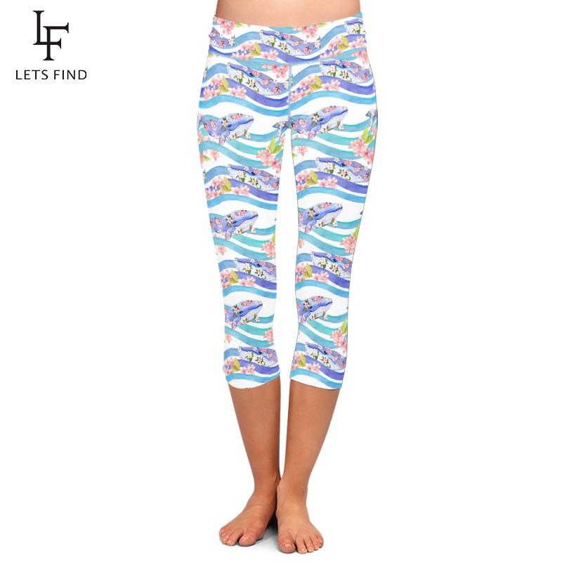 LETSFIND Summer New Cartoon Dolphins Design High Waist Capri Leggings Fashion Women Fitness Mid-Calf Pants Plus Size