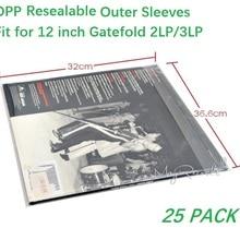 25PCS OPP Plastic Resealable Outer Sleeves for GATEFOLD 2LP 3LP Vinyl Record