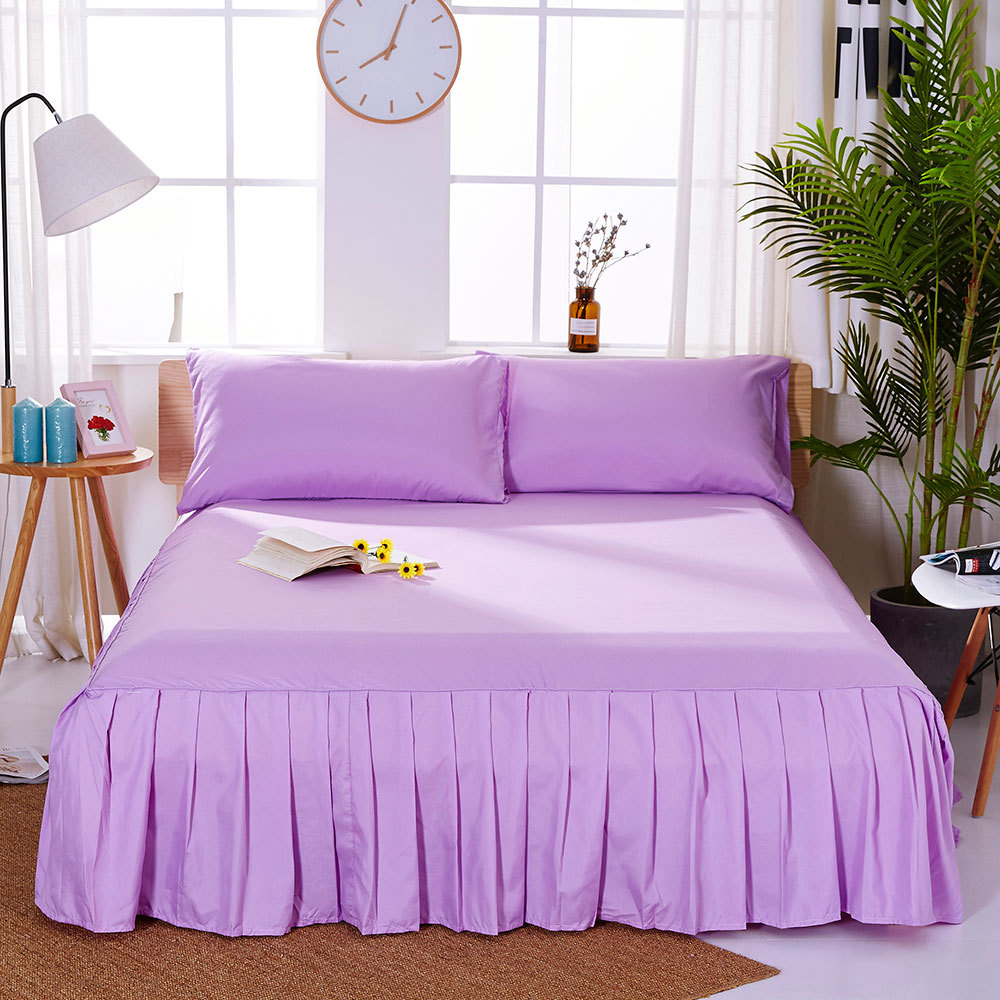 1pc Sanding Bedspread Solid Color Fitted Sheet Cover Soft Non-Slip King Queen Bed Skirt Protector Bed Mat Cover 1.2m/1.5m/1.8m 7