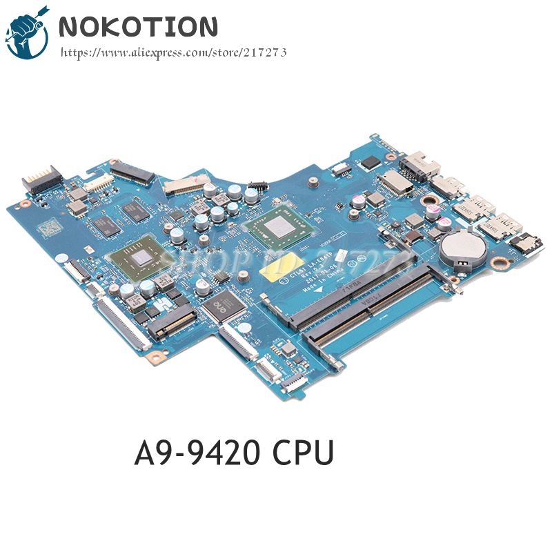 NOKOTION For HP 15-BW Laptop Motherboard A9 CPU TM 520 Graphics DDR4 CTL51 53 LA-E841P  924724-001 924724-501 924724-601