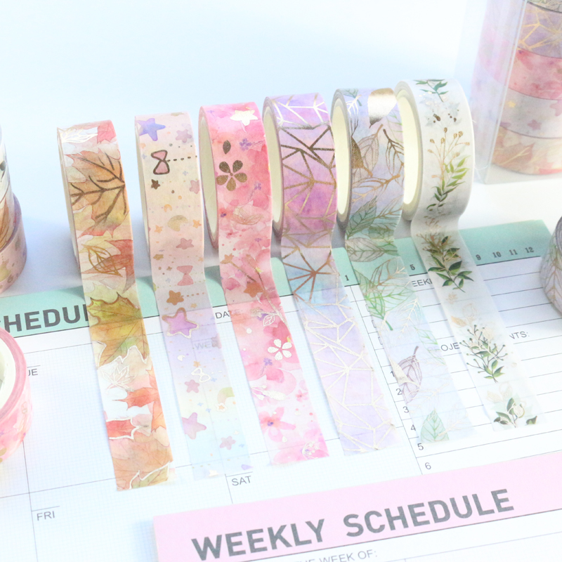 Domikee Cute Kawaii Japanese Gold Foil Flower Pattern Washi Tape Set Candy Decoration DIY Bullet Journal Packing Masking Tape