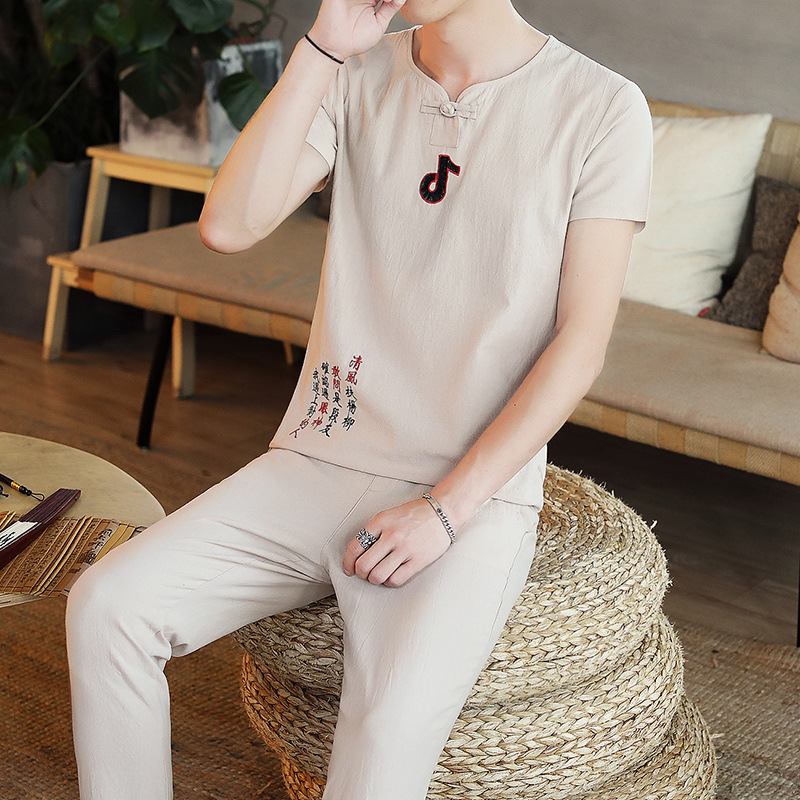 Flax Set Men's Summer Youth Men On Clothes Large Size Loose-Fit Chinese-style Trend Cotton Linen Short Sleeve T-shirt