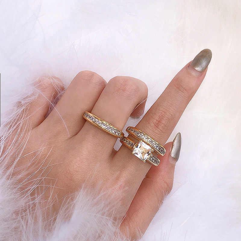 Juego de 3/Uds. Anillo joya de oro circonio 14K venta al por mayor Europa sra. compromiso matrimonio Diamante de lujo diamante Vintage estrella película anillo
