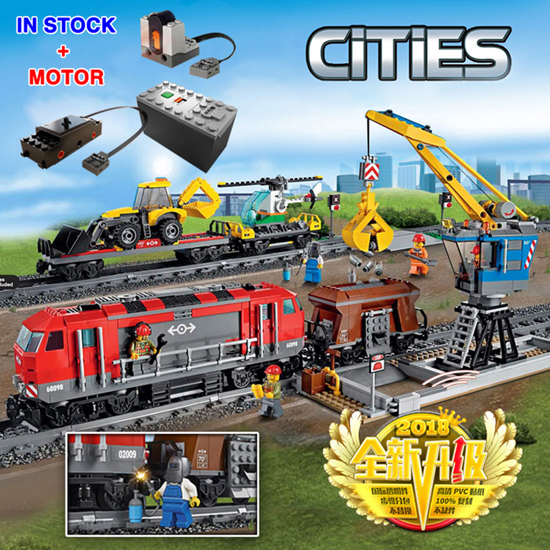 City 82009 With Motor Building Blocks Bricks Compatible Lepinglys 60098 Heavy Haul Rail Train Engineering Vehicle Children Toys