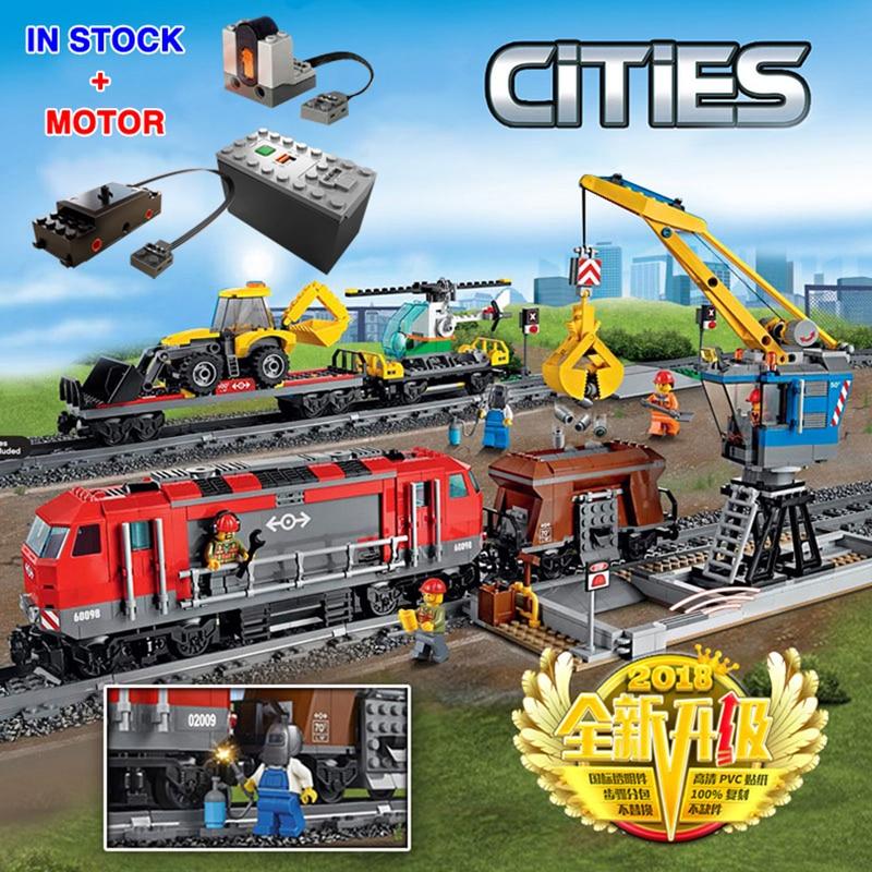 City 82009 With Motor Building Blocks Bricks Compatible Lepinglys 60098 Heavy Haul Rail Train Engineering Vehicle Children Toys