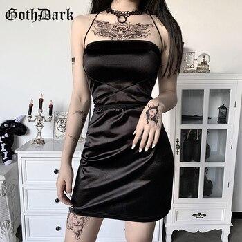 Goth Dark Gothic Women Summer Black Mini Dresses Sexy Strap Bandage Sundress Backless Sleeveless Bodycon Wrap Dress Partywear women plus size cool solid bandage irregular hem sleeveless camisole mini dress gothic punk style sleeveless strap dress