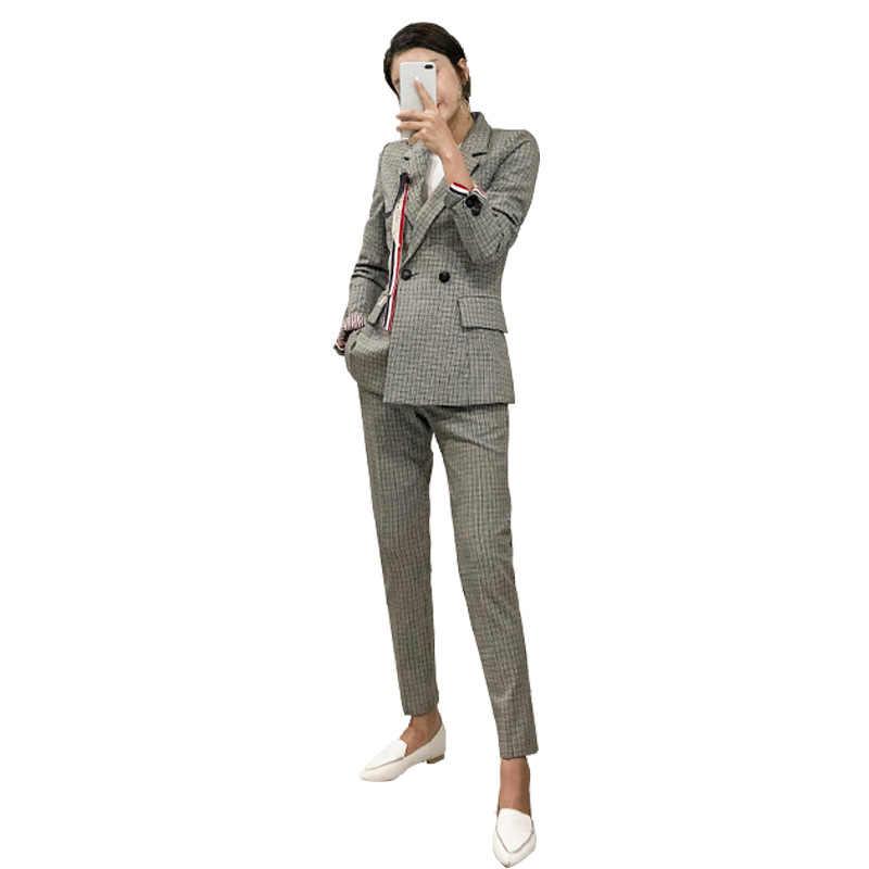 Duas Peças Set Blazer E Calças Compridas Mulheres Escritório Cinza Xadrez Elegante Manga Comprida Double Breasted Entalhado Collar Zipper Fly calças