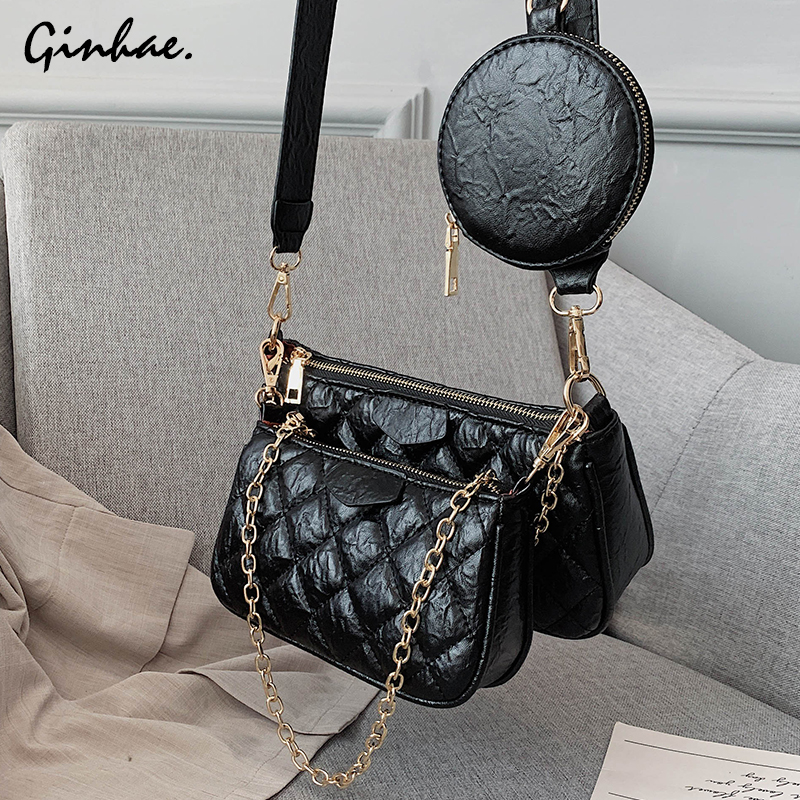 Luxury Diamond Lattice Chain Shoulder Bag Set For Women PU Leather Plaid Handbags And Purses Vintage Solid Flap Bag Bolsos Mujer