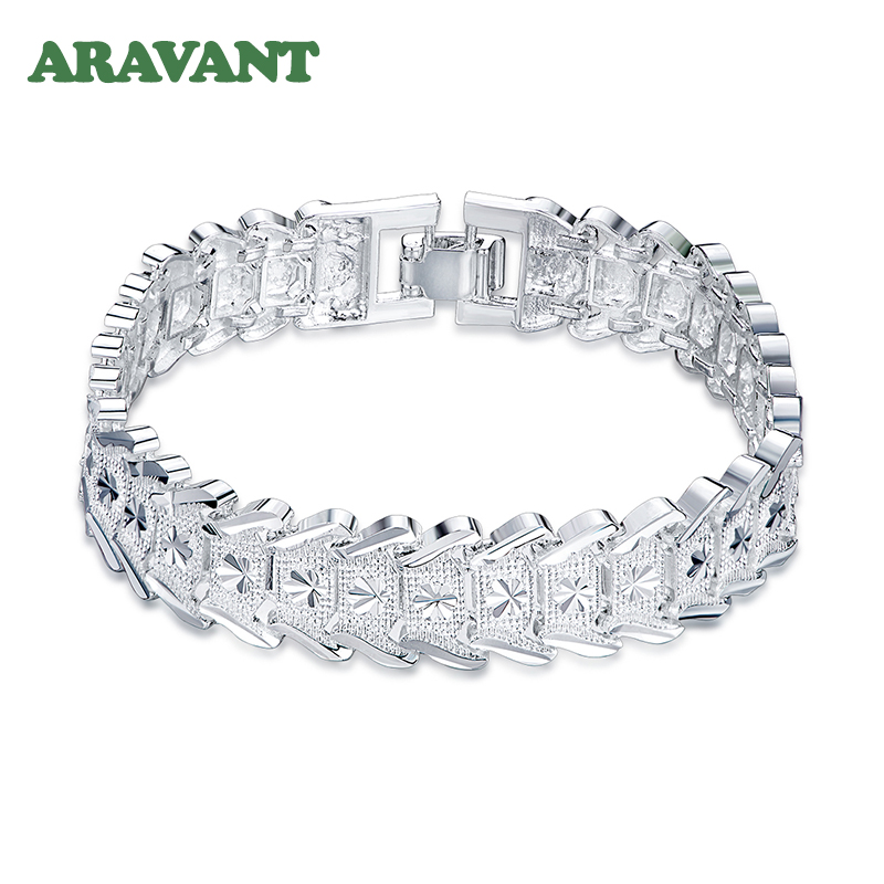 925 Silver Vintage Big Wide Carved Chain Bracelet For Women Fashion Wedding Jewelry