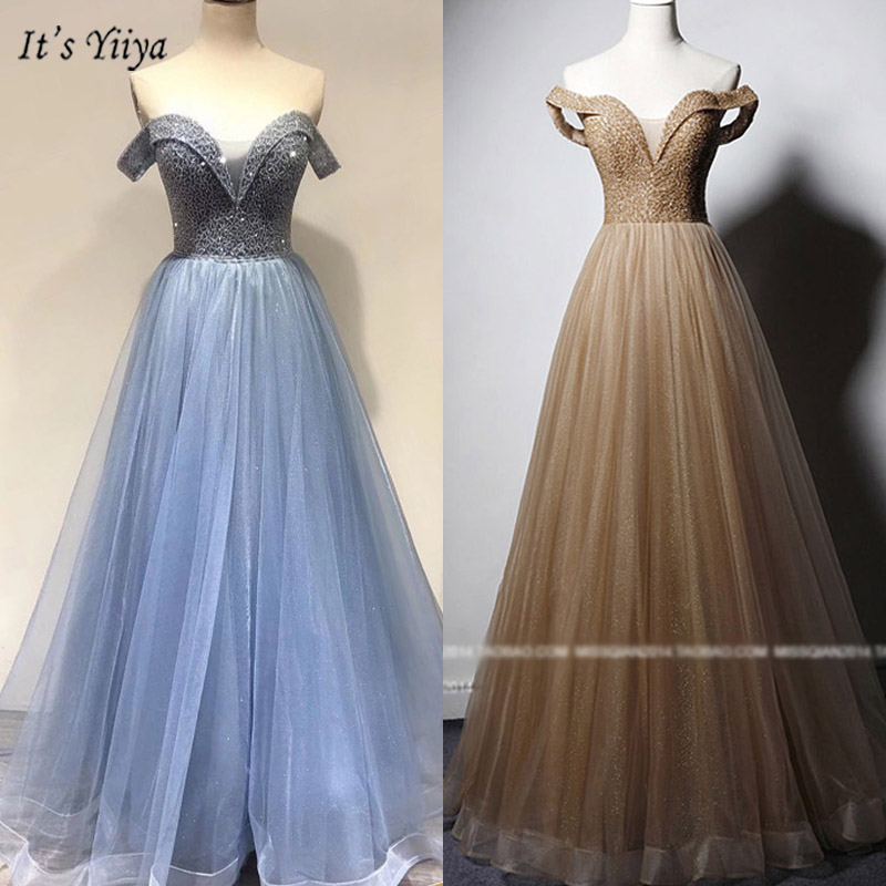 It's Yiiya Evening Gowns Boat Neck Short Sleeve A-Line Women Party Dresses Beading Off Shoulder Floor-Length Robe De Soiree V090