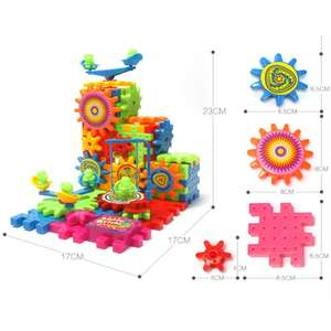 81 PCS Electric Gears 3D Model Building Kits Plastic Brick Blocks Educational Y4UD