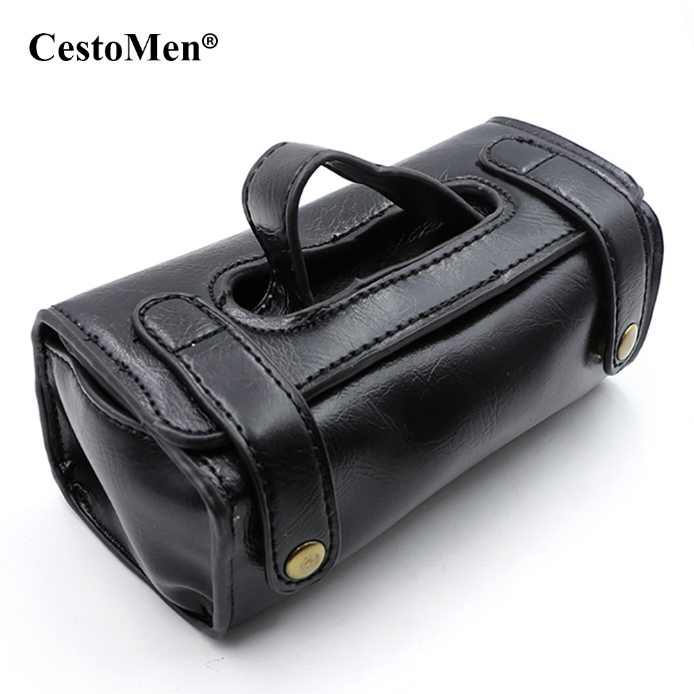 CestoMen Organizer Shaving Wash Case Comestic Bag Pouch Portable Hanging Travel Toiletry Bag PU Leather Men's Grooming Tools Bag