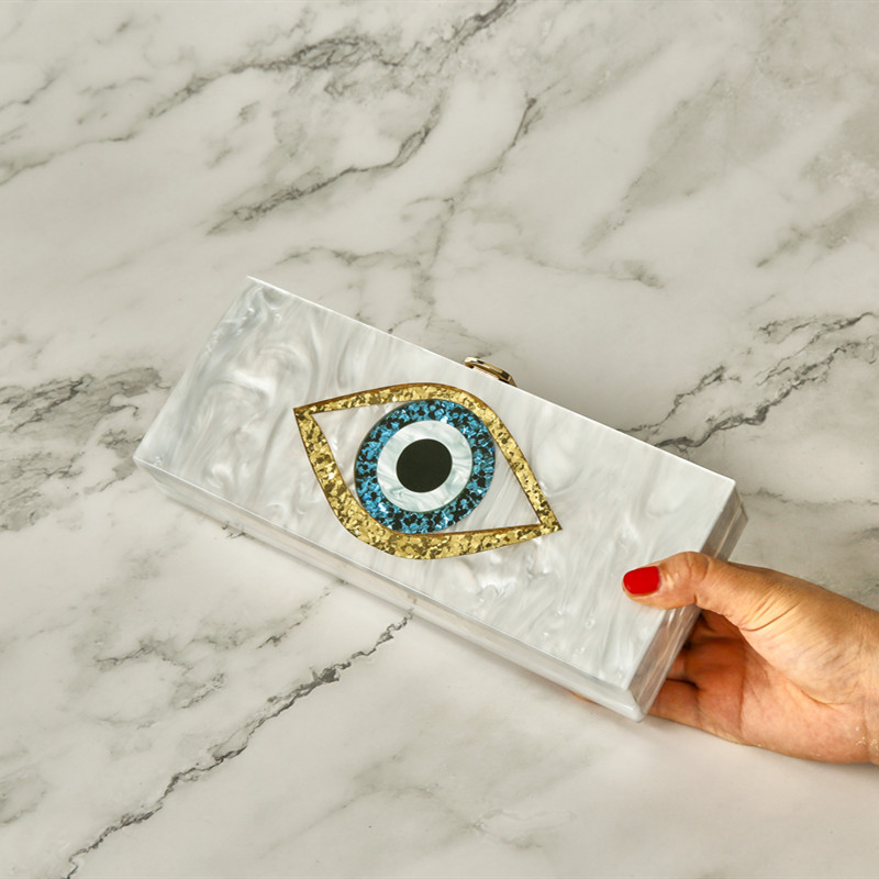 [Telastar] Gold Glitter Acrylic Bag Women Evening Plastic Box Big Eye Patchwork Clutch Bags Black