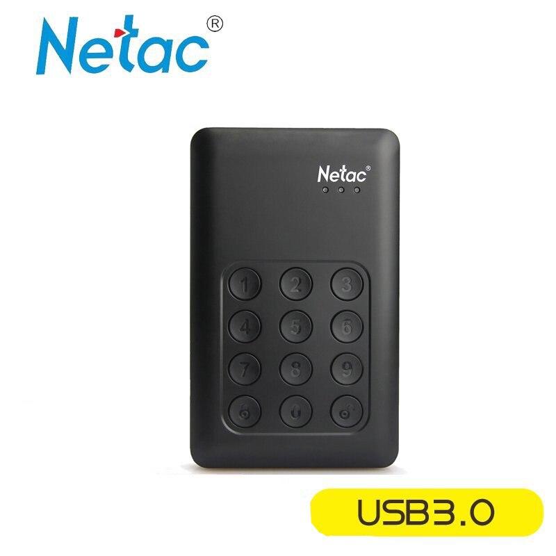 "Original Netac K390 2TB 1TB Portable 2.5"" USB 3.0 HDD Hardware Encryption Mobile External Hard Disk Drive For Data Security"