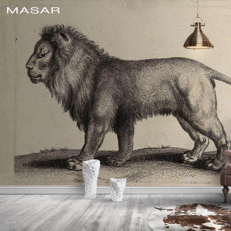 MASAR 3D HD animaux lion peintures murales, respectueux de l'environnement, papier peint étanche, salon, couloir papier peint roi
