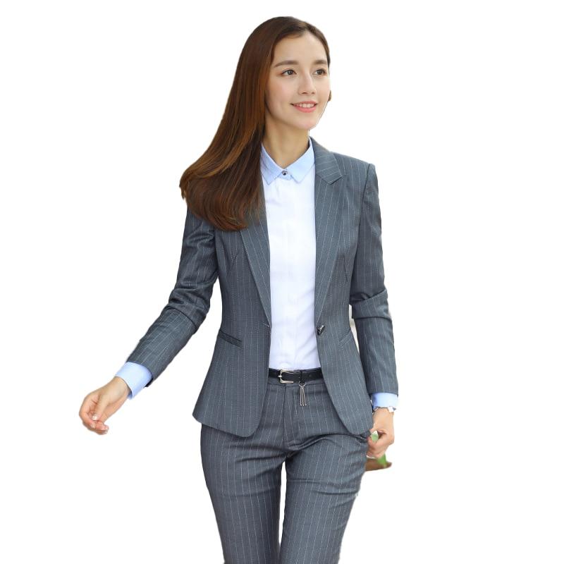 Female Elegant Formal Office Work Wear Black Grey Blazer Women Pant Suits Ladies 2 Pieces Sets Office Uniform Designs New Styles