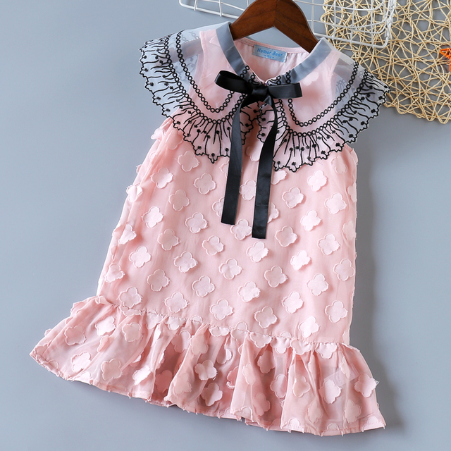 Humor Bear Girls Dress 2020 New Brands Baby Dresses Tassel Hollow Out Design Princess Dress Kids Clothes Children's Clothing 3