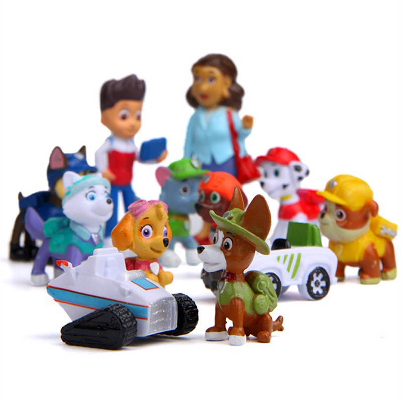 12pcs Paw patrol Toy Set Toy 4-10cm Anime Figure Action Figures Puppy Car Toy Canine Toys For Children Toy