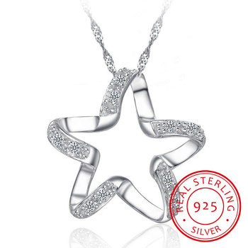 925 Sterling Silver Five-pointed Star Cubic Zirconia Pendant Necklace Fashion Starfish Cz Jewelry For Anniversary Gift image