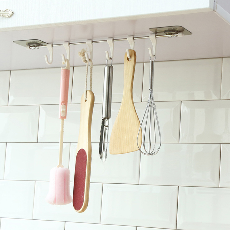 6 Rows Kitchen Hooks Home Storage Stainless Steel Rack Hooks Pantry Chest Tools Towels Hanger Wardrobe Towel Rack Storage Shelf