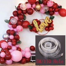 Double hole Balloon Fixed Chain Transparent Plastic Connective  Balloons Backdrop Decor Accessories DIY Supplies 5m