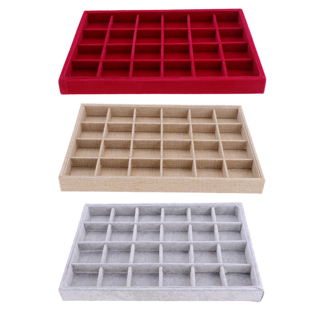 Beludru Stackable 24 Grid Perhiasan Tray Showcase Organizer Perhiasan Cincin Cincin Kemasan