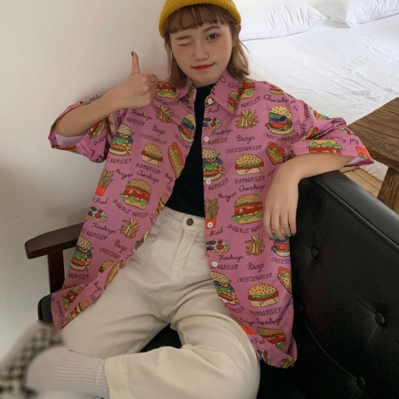 Women Harajuku Retro Print Shirt Summer Ladies Loose Turn-down Collar Streetwear Tops Vintage Print Blouse