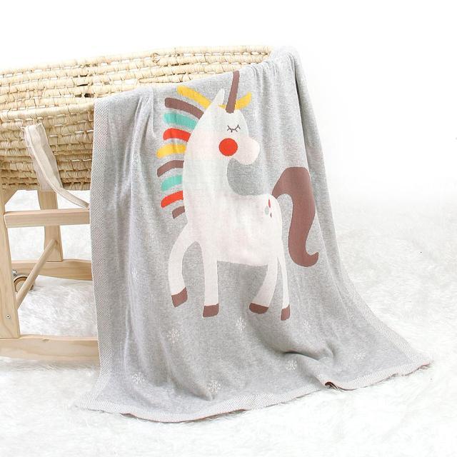 Manta de punto unicornio gris 1