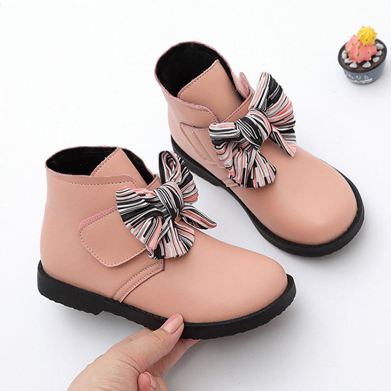 2019 Winter Girls Ankle Boots Fashion Kids Boots Bow-knot Warm Cotton Princess Sweet Big Children Girl Ankle Shoes 3 Colors Cute