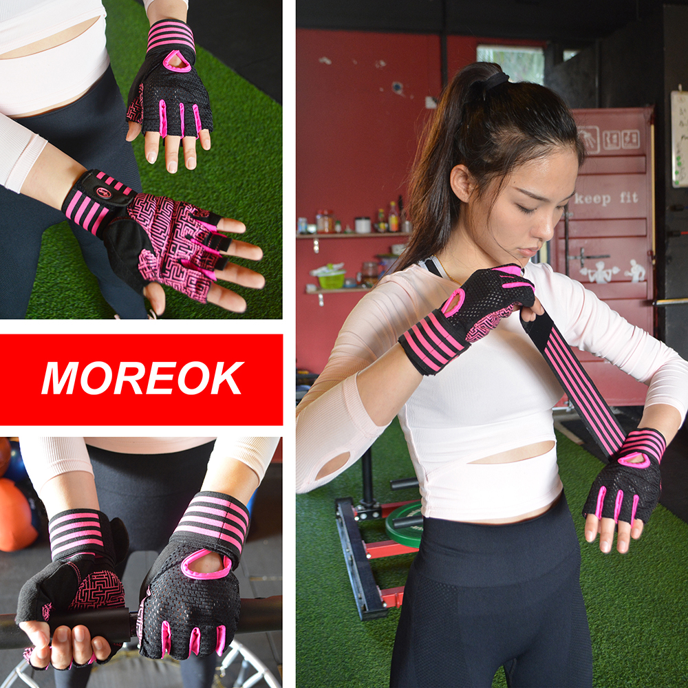 MOREOK Fitness Gym Glove Antislip Breathable Strength Training Weight Lifting Workout Glove Spin Bike Dumbbells for Men Women