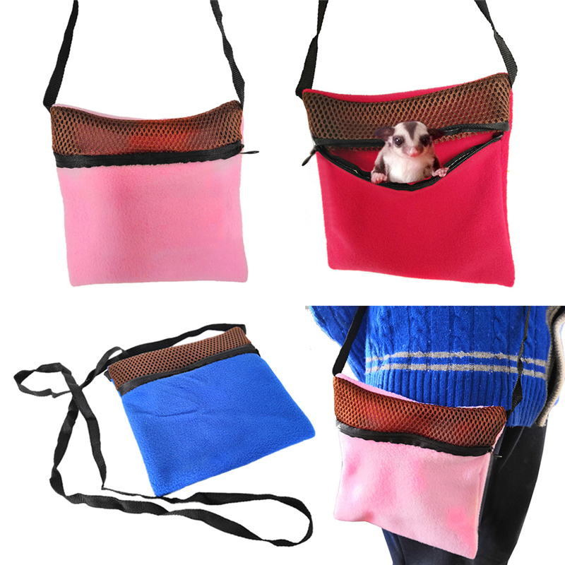 Small Animal Outgoing Sleeping Bag Hammock Rats Hamster Travel Carry Bag Pouch with Shoulder Strap Handbag for Sugar Glider C42