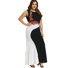 Floral Women Maxi Plus Size Dress Summer Fashion Sleeveless Rose Embroidery Patchwork Lady Large Evening Party