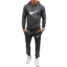 2019 new mens sports hoodie suit solid color brand sportswear two-piece spring and autumn running fitness clothes