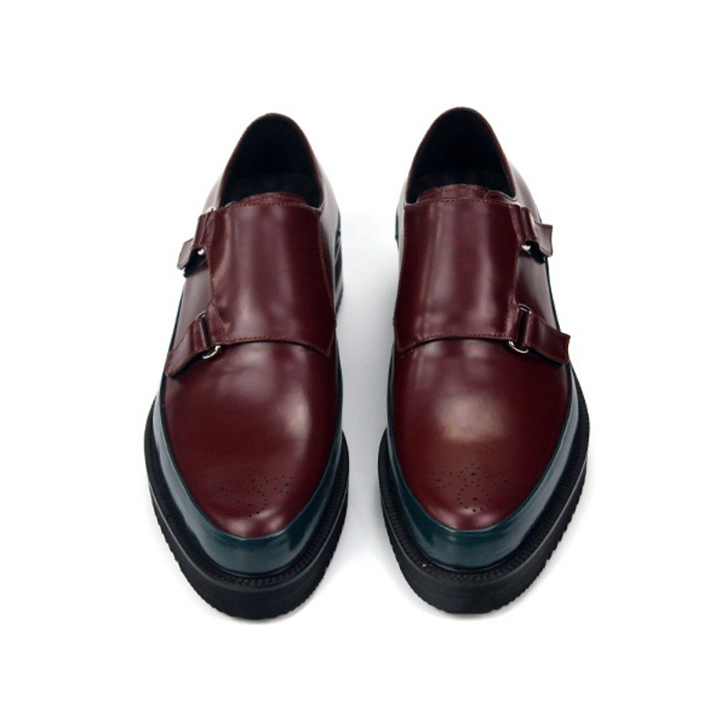 Top Quality Mens Thick Platform Genuine Leather Shoes Pointed Toe Business Man Footwear Buckle Casual Wing Tip Office Work Shoes