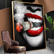 Bar Wall Decor Women Smoking Posters Sexy Red Lips Cool Portrait Oil Paintings on Canvas Wall Pictures Home Decoration No Frame