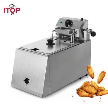 цена на ITOP Commercial 4L-8L Auto Lift-Up Deep Fryer Digital Control Industrial Fryer Potato Chip Chicken Frying Machine