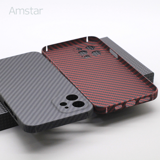 Amstar Pure Carbon Fiber Lens Protection Phone Case for iPhone 12 11 Pro Max 12 Mini Ultra Thin Carbon Fiber Hard Cover Cases 3