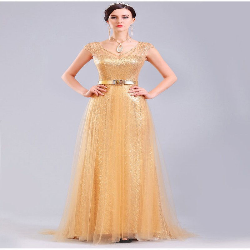 2018 Custom Made Robe De Soiree Long Evening Women Prom Gown Gold Sequin Tulle Beading Cap Sleeve Mother Of The Bride Dresses