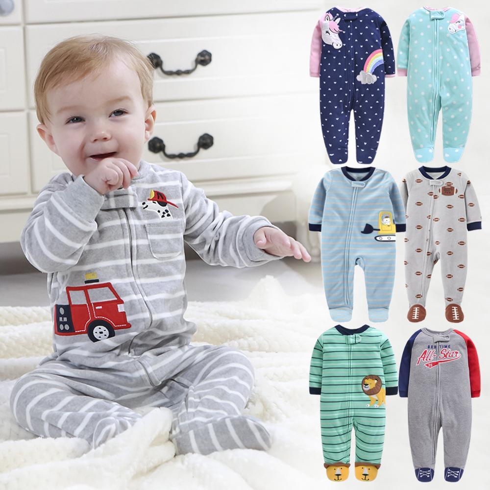 Novo 2019 outono primavera bebê macacão roupas de manga longa recém-nascido menino meninas polar velo bebê macacão roupas de bebê 9-24m