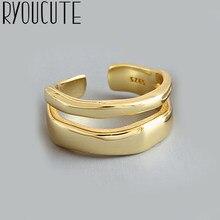 Simple estilo de Color de plata geométrico Irregular anillos para mujeres regalos gran ajustable anillos de dedo