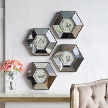 Espejo de pared con forma de corona Hexagonal Retro, decoración Mural, pintura...
