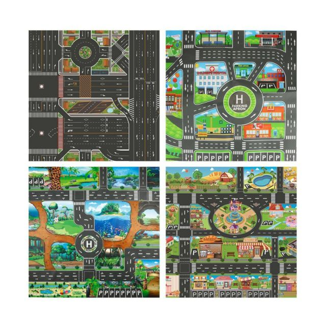 2020 Baby Toy Big City Traffic Car Park Play Mat Waterproof Non-woven Kids Playmat Pull Back Car Toys