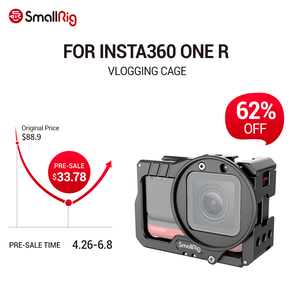 Edição com Duas Montagens de Sapata Adaptador para Insta360 Smallrig Vlogging Gaiola Filtro um r 4 k Fria Múltiplos 1 – Holes-20 Furos 2901 & 52mm