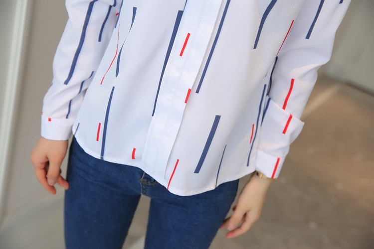 H30a6a43c9d774860ba85f62cb9638b3eX - Women Fashion White Tops and Blouses Stripe Print Design Casual Long Sleeve Office Lady Work Formal Shirts Female Plus Size
